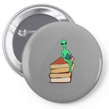 Alien Reading Pin-back Button Designed By Cypryanus