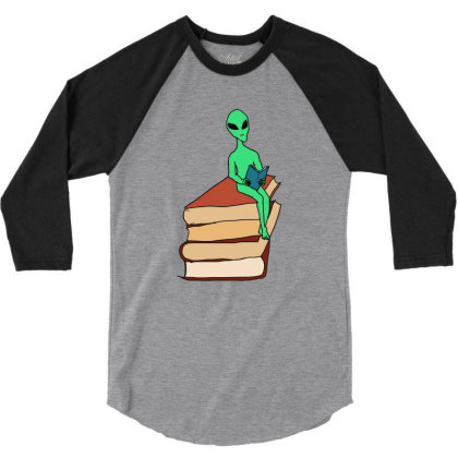 Alien Reading 3/4 Sleeve Shirt Designed By Cypryanus