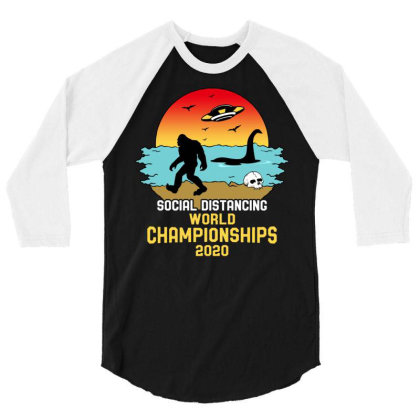 Social Distancing World Championships 2020 3/4 Sleeve Shirt Designed By Honeysuckle