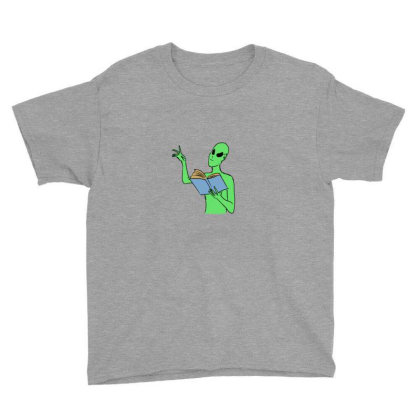 Alien Reading Books Youth Tee Designed By Cypryanus