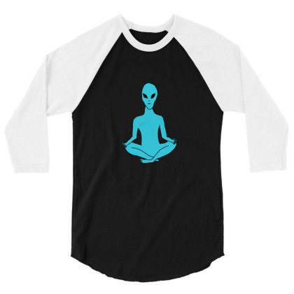 Alien Yoga 3/4 Sleeve Shirt Designed By Cypryanus