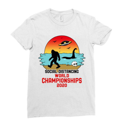 Social Distancing World Championships 2020 Ladies Fitted T-shirt Designed By Honeysuckle