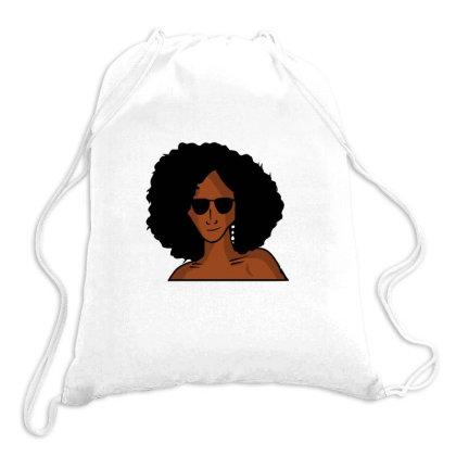 Black Woman Drawstring Bags Designed By Cypryanus