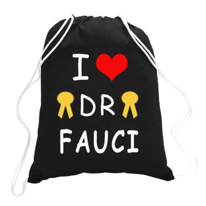 I Love Dr Fauci Drawstring Bags Designed By Elegance99