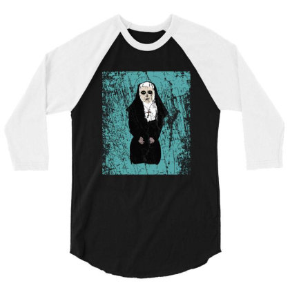 Horror Nun 3/4 Sleeve Shirt Designed By Cypryanus