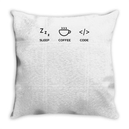 A Coder's Life Funny Tech Throw Pillow Designed By Anis4