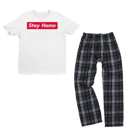 Stay Home Red Box Youth T-shirt Pajama Set Designed By Honeysuckle