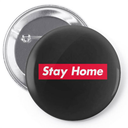Stay Home Red Box Pin-back Button Designed By Honeysuckle