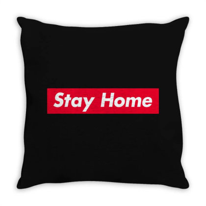Stay Home Red Box Throw Pillow Designed By Honeysuckle