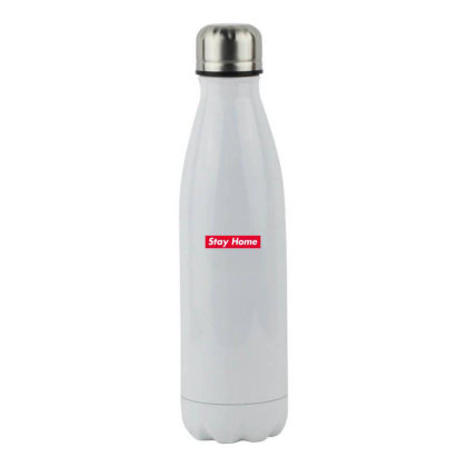 Stay Home Red Box Stainless Steel Water Bottle Designed By Honeysuckle