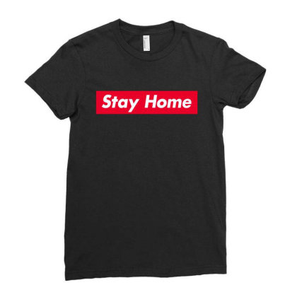 Stay Home Red Box Ladies Fitted T-shirt Designed By Honeysuckle