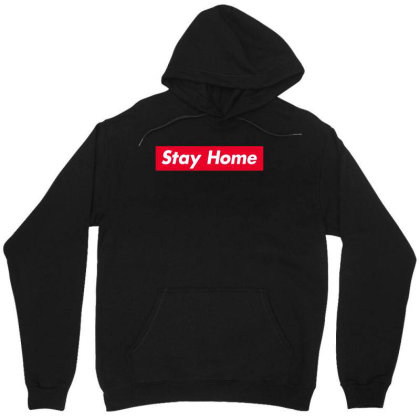 Stay Home Red Box Unisex Hoodie Designed By Honeysuckle