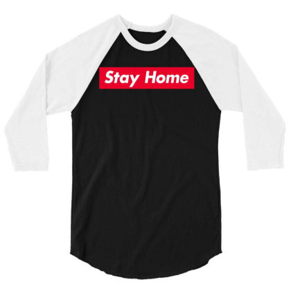 Stay Home Red Box 3/4 Sleeve Shirt Designed By Honeysuckle