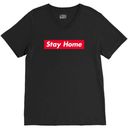 Stay Home Red Box V-neck Tee Designed By Honeysuckle