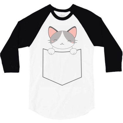 A Pocket Filled With A Cute Cat 3/4 Sleeve Shirt Designed By Anis4