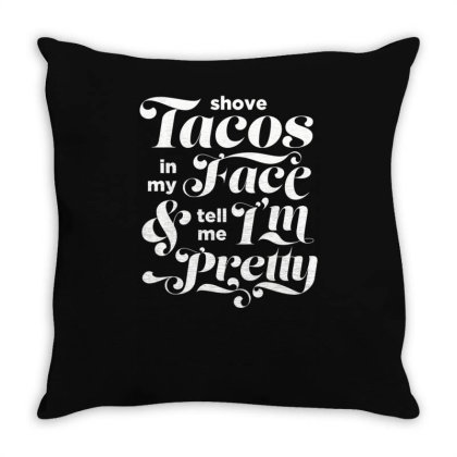 A Simple Taco Request White Print Throw Pillow Designed By Anis4