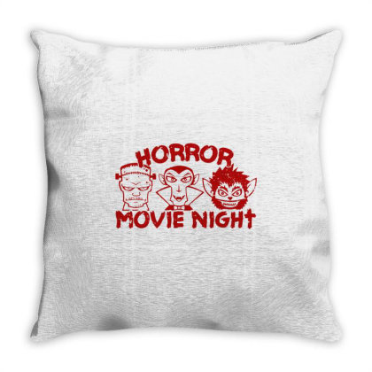 Horror Movie Night Throw Pillow Designed By Moko