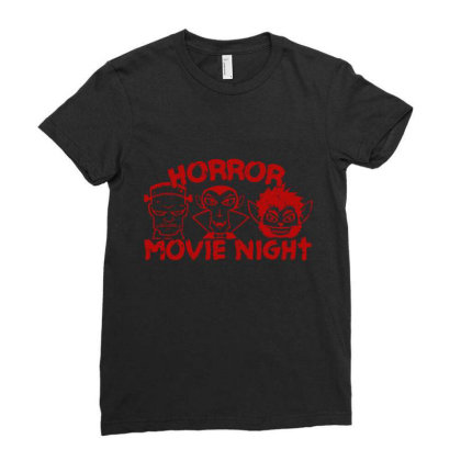 Horror Movie Night Ladies Fitted T-shirt Designed By Moko