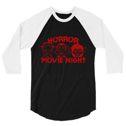 Horror Movie Night 3/4 Sleeve Shirt Designed By Moko