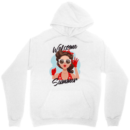 Welcome Summer Girl Unisex Hoodie Designed By Designisfun