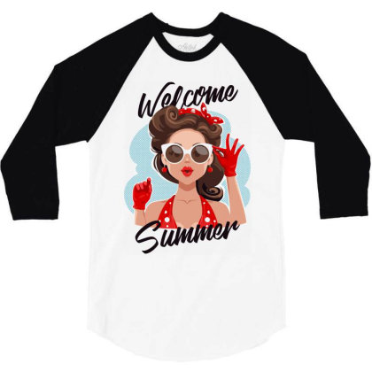 Welcome Summer Girl 3/4 Sleeve Shirt Designed By Designisfun