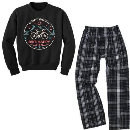 Don't Worry Bike Happy Youth Sweatshirt Pajama Set Designed By Designisfun