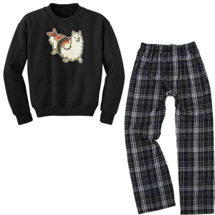 Alpaca Sushi Niguiri I Youth Sweatshirt Pajama Set Designed By Anis4
