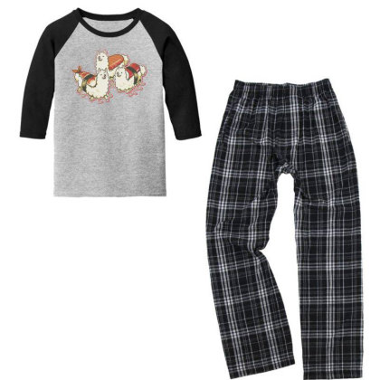 Alpaca Sushi Niguiri Youth 3/4 Sleeve Pajama Set Designed By Anis4