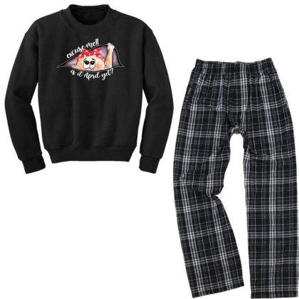 April Peeking Out Baby Girl For Dark Youth Sweatshirt Pajama Set Designed By Sengul