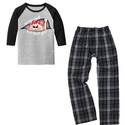 April Peeking Out Baby Girl For Dark Youth 3/4 Sleeve Pajama Set Designed By Sengul