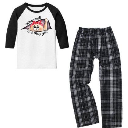 May Peeking Out Baby Girl For Light Youth 3/4 Sleeve Pajama Set Designed By Sengul
