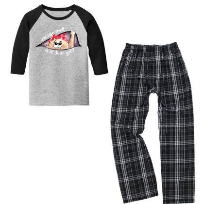 June Peeking Out Baby Girl For Dark Youth 3/4 Sleeve Pajama Set Designed By Sengul