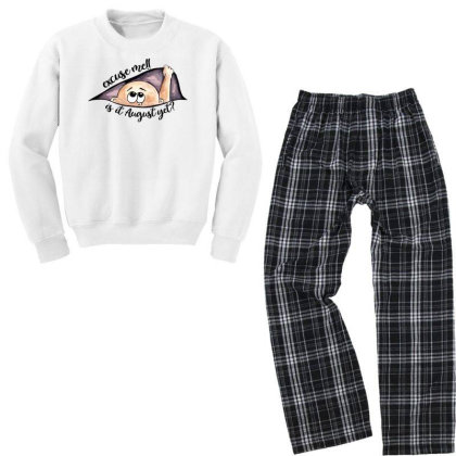 August Peeking Out Baby Boy For Light Youth Sweatshirt Pajama Set Designed By Sengul
