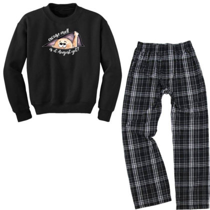 August Peeking Out Baby Boy For Dark Youth Sweatshirt Pajama Set Designed By Sengul