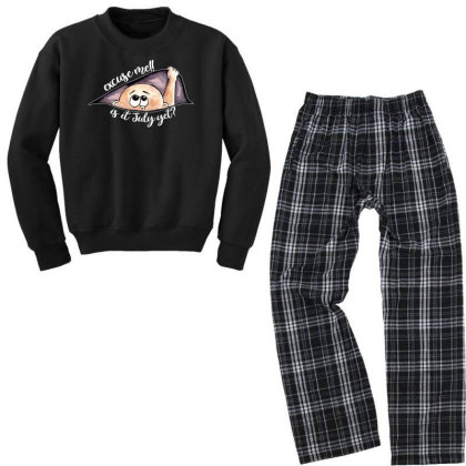 July Peeking Out Baby Boy For Dark Youth Sweatshirt Pajama Set Designed By Sengul