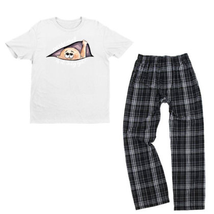 July Peeking Out Baby Boy For Dark Youth T-shirt Pajama Set Designed By Sengul