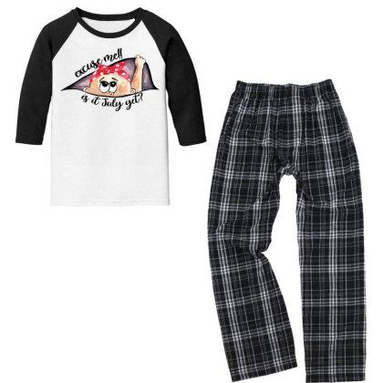 July Peeking Out Baby Girl For Light Youth 3/4 Sleeve Pajama Set Designed By Sengul