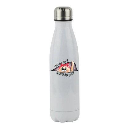 July Peeking Out Baby Girl For Light Stainless Steel Water Bottle Designed By Sengul