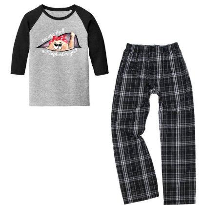 September Peeking Out Baby Girl For Dark Youth 3/4 Sleeve Pajama Set Designed By Sengul