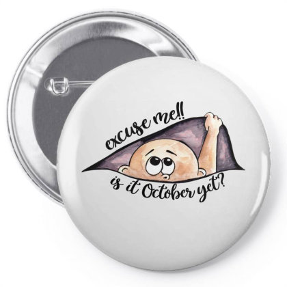 October Peeking Out Baby Boy For Light Pin-back Button Designed By Sengul