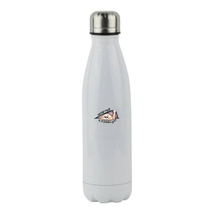 October Peeking Out Baby Boy For Light Stainless Steel Water Bottle Designed By Sengul