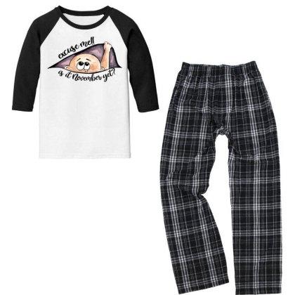 November Peeking Out Baby Boy For Light Youth 3/4 Sleeve Pajama Set Designed By Sengul