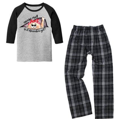 November Peeking Out Baby Girl For Light Youth 3/4 Sleeve Pajama Set Designed By Sengul