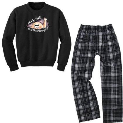 December Peeking Out Baby Boy For Dark Youth Sweatshirt Pajama Set Designed By Sengul