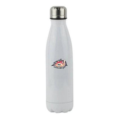 December Peeking Out Baby Girl For Light Stainless Steel Water Bottle Designed By Sengul