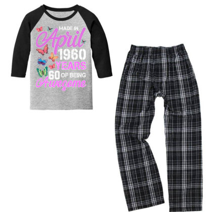 Made In April 1960 Years 60 Of Being Awesome For Dark Youth 3/4 Sleeve Pajama Set Designed By Sengul