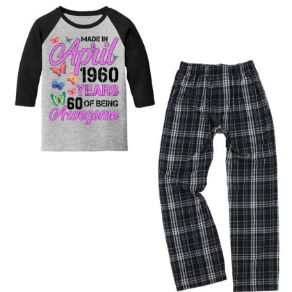 Made In April 1960 Years 60 Of Being Awesome For Light Youth 3/4 Sleeve Pajama Set Designed By Sengul