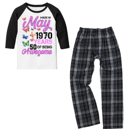 Made In May 1970 Years 50 Of Being Awesome For Light Youth 3/4 Sleeve Pajama Set Designed By Sengul