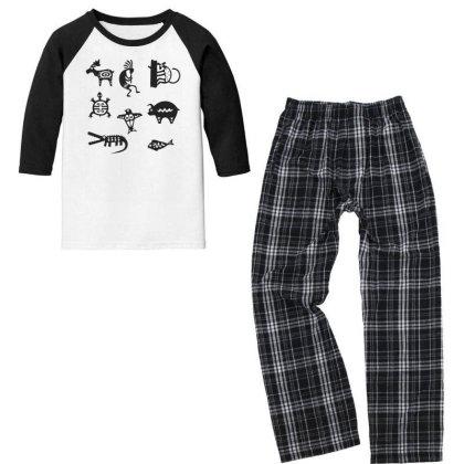 Animals Mayan Youth 3/4 Sleeve Pajama Set Designed By Anis4