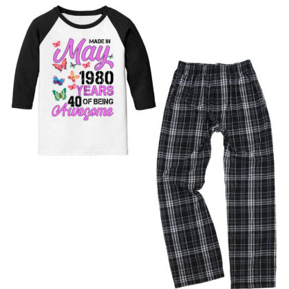 Made In May 1980 Years 40 Of Being Awesome For Light Youth 3/4 Sleeve Pajama Set Designed By Sengul